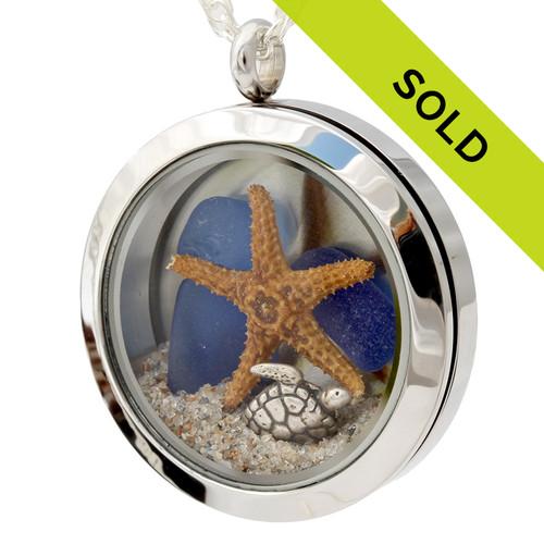 Sea Turtle & Blue Sea Glass Locket With Beach Sand & Starfish