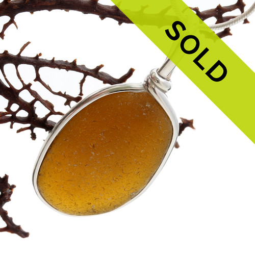Amber Waves -  English Sea Glass Pendant In Sterling Original Wire Bezel©