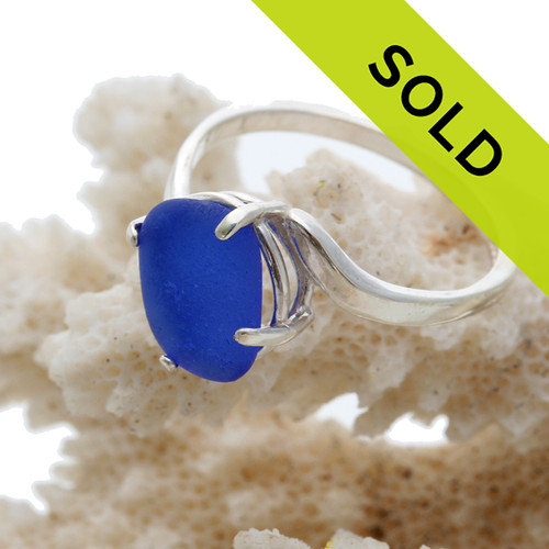 This beautiful blue sea glass ring has been sold.