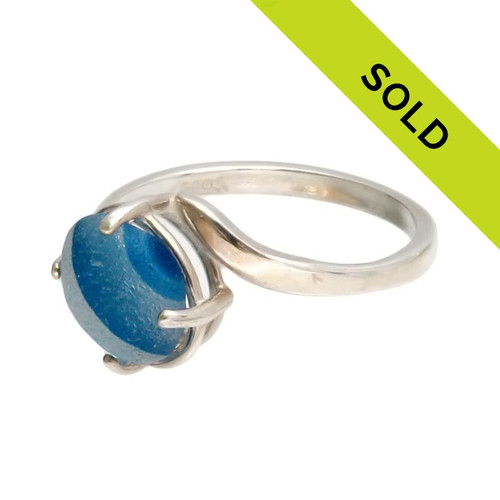 Sorry this mixed blue sea glass ring has been SOLD!