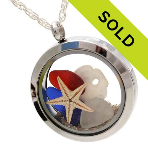 Born on the 4th Of July - Genuine Sea Glass Locket With Starfish & Sandollar