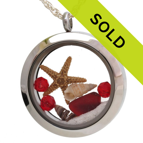 Sorry this red sea glass locket necklace with starfish has SOLD!