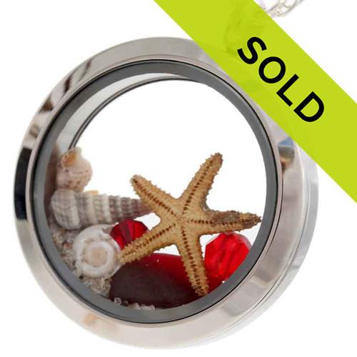 July Ruby- Genuine Red Sea Glass Locket With Starfish & Shells
