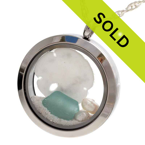 Beach Bliss - Aqua Sea Glass Locket With Sandollar and Pearl