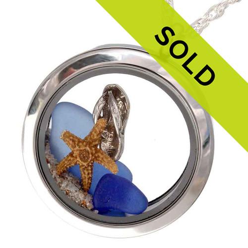 I Flip for Sea Glass - Genuine Sea Glasses Locket With Starfish & Flop Charm