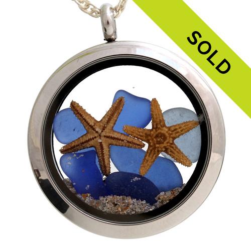 Genuine Blue Sea Glass Locket With Two Starfish