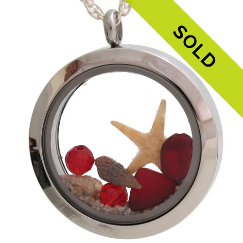 Sorry this red sea glass locket has been sold!