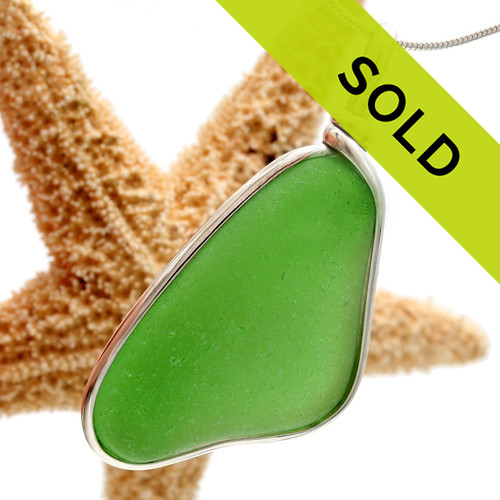 Sorry this vivid green sea glass necklace pendant has sold!
