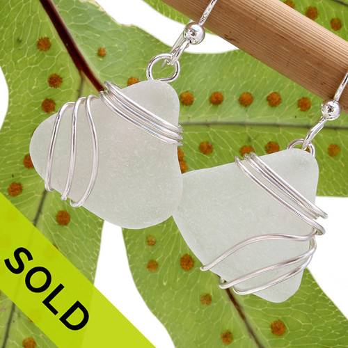 LARGE Pure White Sea Glass Earrings In Triple Slerling