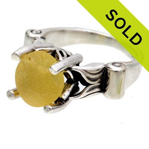 Beautiful sunny yellow sea glass UNALTERED from the way it was found on the beach. Set in this high profile solid sterling ring, bound to get you compliments! SOLD - Sorry these Ultra Rare Sea Glass Ring is NO LONGER AVAILABLE!
