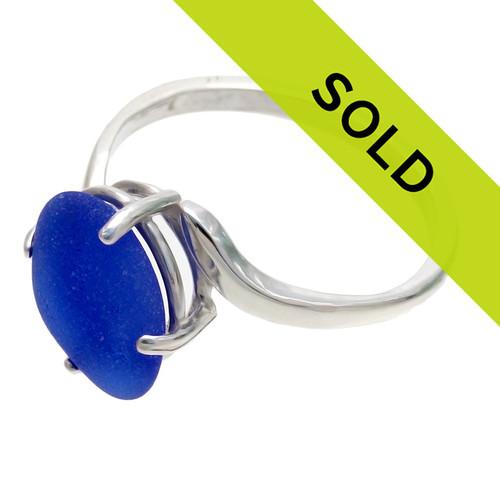Blue Sea Glass Ring