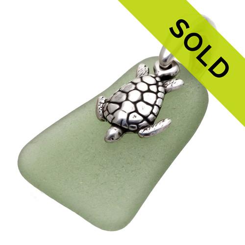 Seaweed Green Genuine Sea Glass Pendant With Sea Turtle