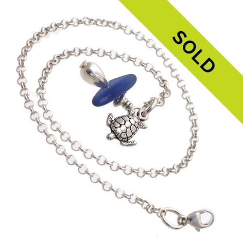 Blue Sea Glass Anklet Bracelet with Sea Turtle Charm