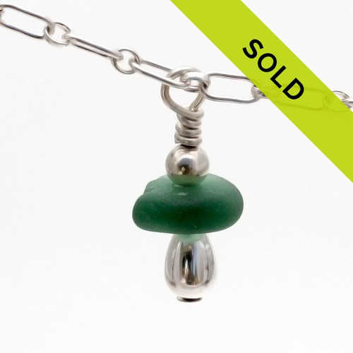 Green Sea Glass Anklet Bracelet with Shell Charm