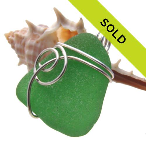 Green Sea Glass In Sterling Sea Swirl