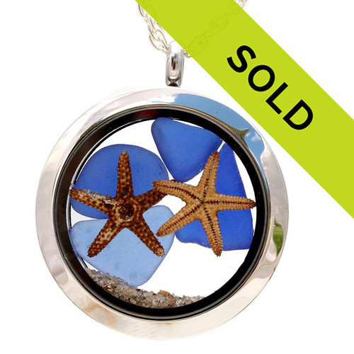 You & Me By The Sea - Blue Sea Glass Locket With Starfish