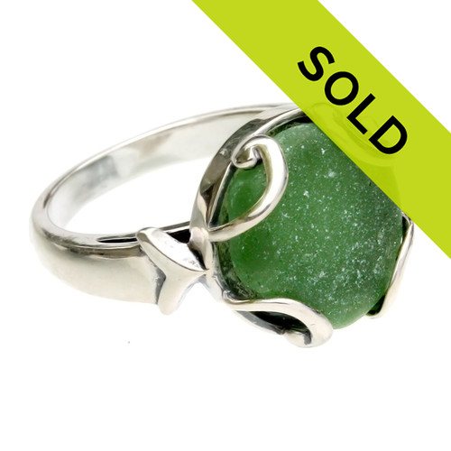 Seaweed Green Domed Sea Glass Piece Sterling Ring - Size 7