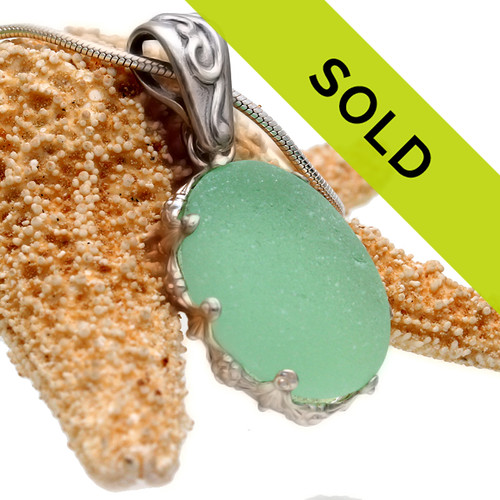 Sorry this perfect seafoam sea glass in silver has been sold!
