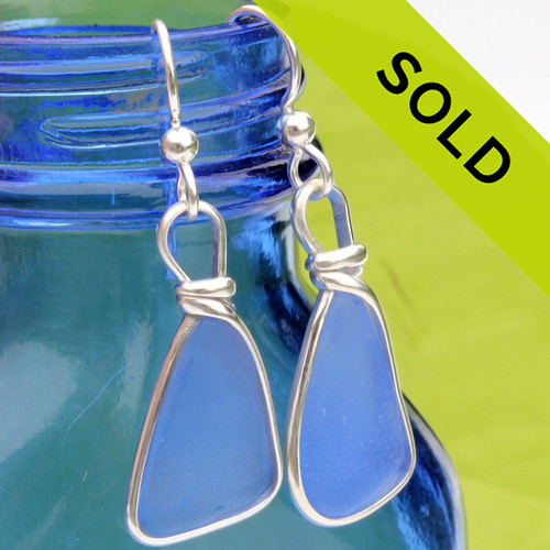 Sorry these blue sea glass earrings have been sold