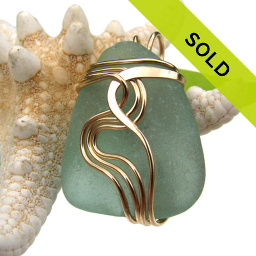 Sea Green Genuine Sea Glass In Goldfilled Waves