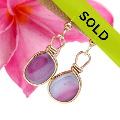 For The Girls - English Art Sea Glass Earrings In Original Gold Wire Bezel©