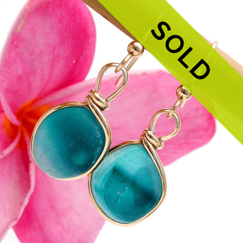 Sorry these ultra rare sea glass earrings in gold have been SOLD!