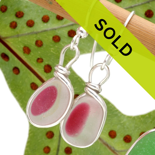 Mixed pink English sea glass earrings in our Original Wire Bezel© setting. This pair has sold!