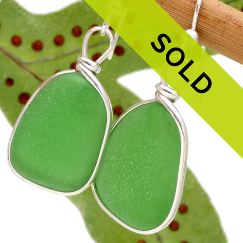 Large bright green sea glass pieces are set in our Original Wire Bezel© earring setting. This is the EXACT pair you will receive!