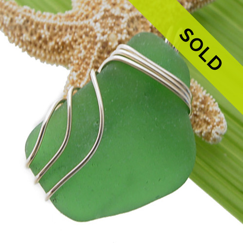 Genuine Certified Green Sea Glass In Triple Goldfilled