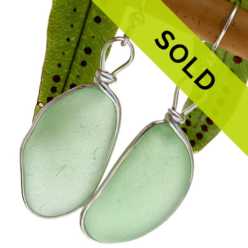 HUGE Seafoam Green Genuine Sea Glass Earrings In Silver Original Wire Bezel©