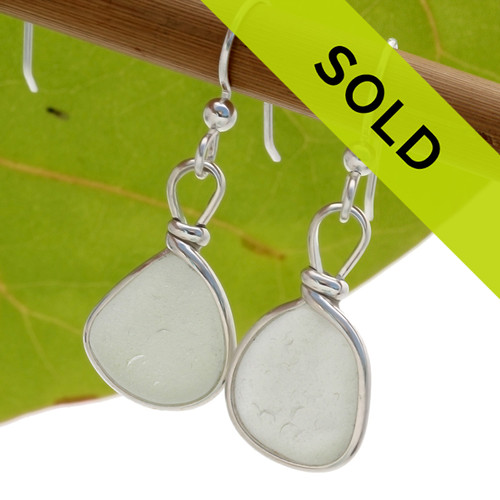 Sorry these white bezeled sea glass earrings have been sold!