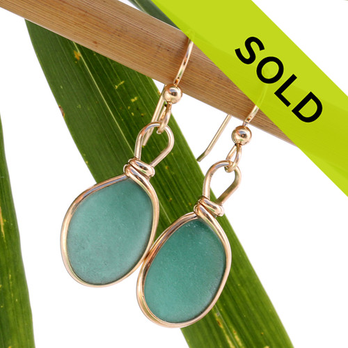 Sorry these aqua green sea glass earrings have been sold!