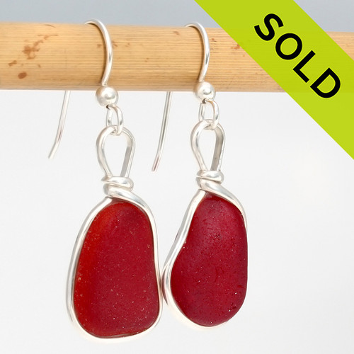 Large PERFECT Vivid red sea glass earrings set in our Original Wire Bezel© in silver. Sorry these Ultra Rare Sea Glass Earrings have been SOLD!