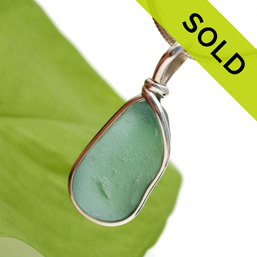 Aquamarine Green Sea Glass On Sterling Wire Bezel© Setting - March Birthstone