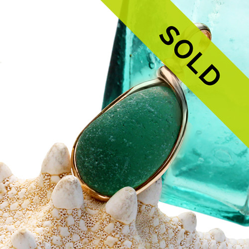 Vivid Aqua Green Genuine Sea Glass In Gold Wire Bezel© Necklace Pendant Sorry this sea glass jewelry piece is no longer available