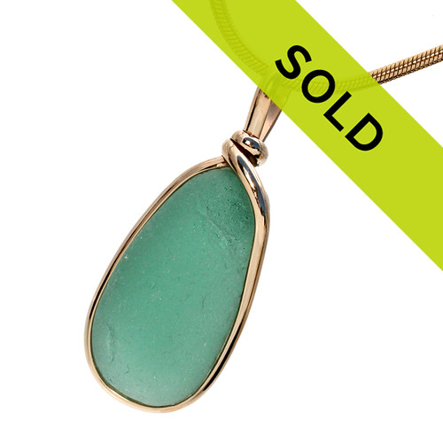 Vivid Aqua Green GENUINE Sea Glass In Original Gold Wire Bezel©