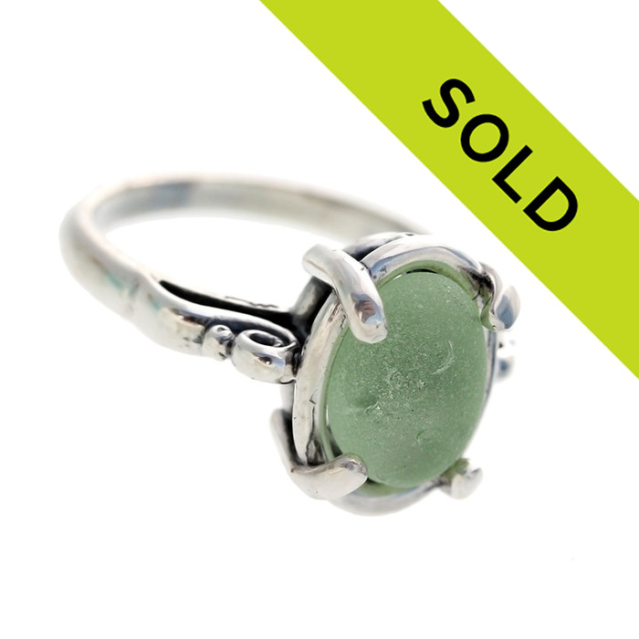 Seafoam Green Sea Glass In Sterling Scroll Ring - Size 8