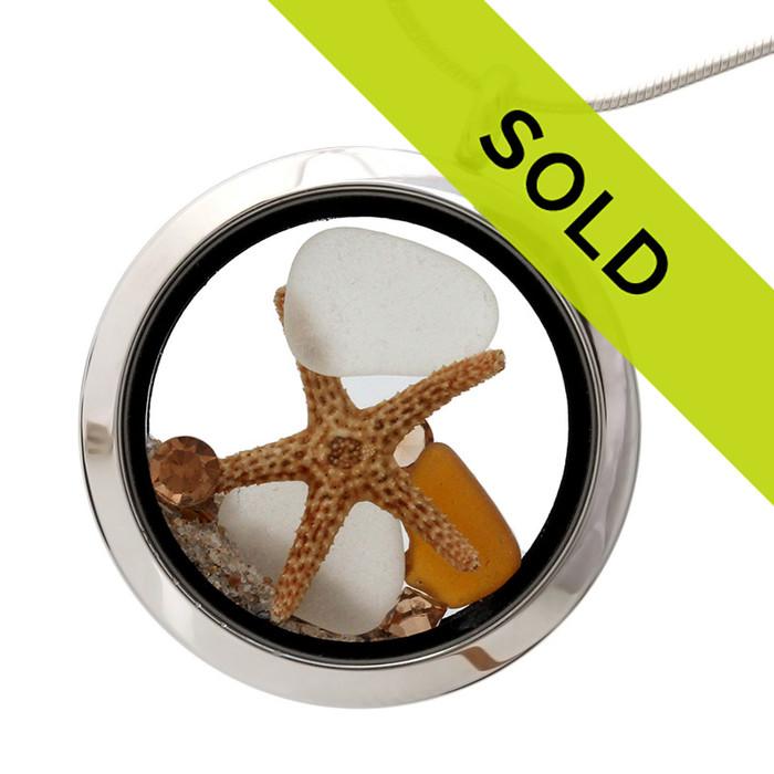 White and honey brown sea glass with starfish and topaz gemstones. (November Birthstones)