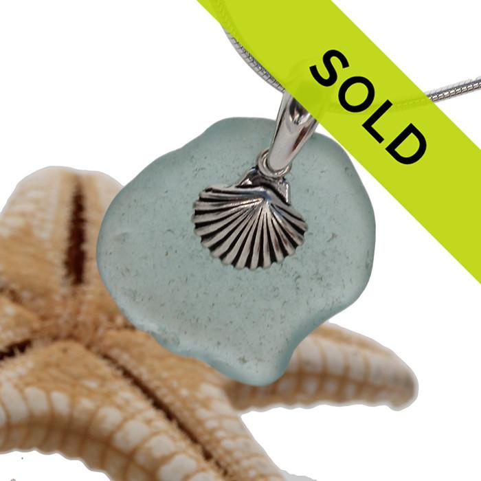 This aqua sea glass necklace has SOLD!