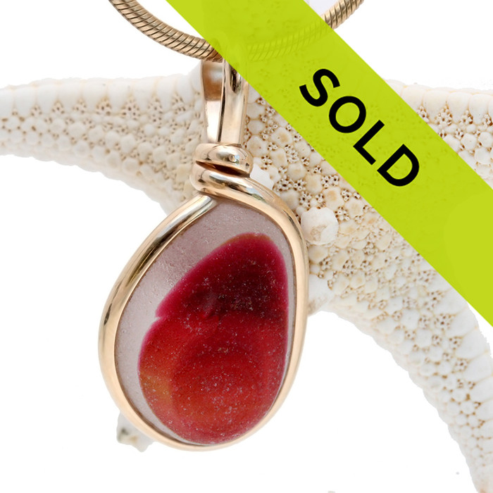 Sunrise By The Sea - Pink & Gold Multi English Sea Glass In Sterling Original Wire Bezel©