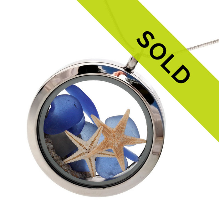 This genuine blue sea glass locket with starfish has been sold!