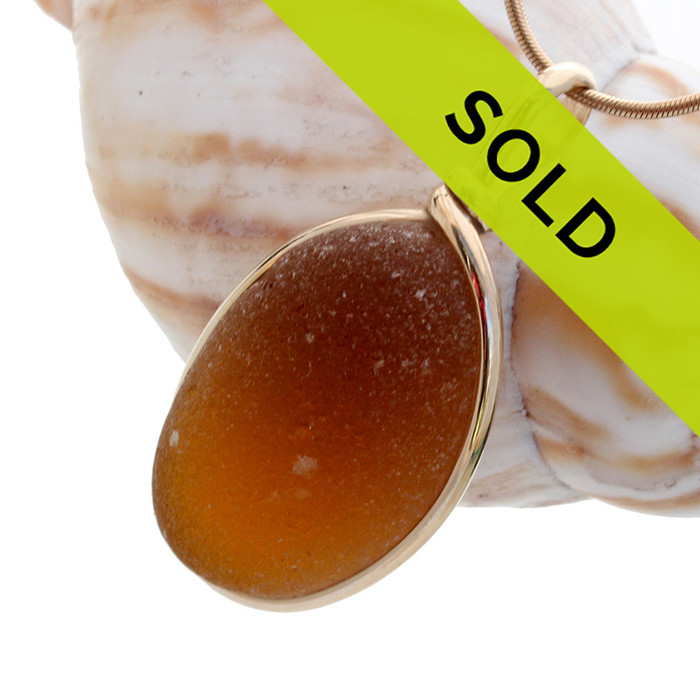 Honey Amber Brown English Sea Glass In G/F Wire Bezel© Necklace Pendant