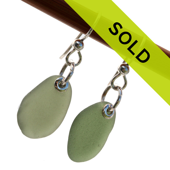 Sorry this Olive green sea glass earrings have sold!