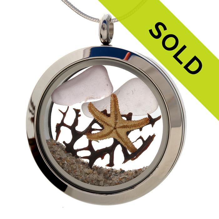 Reserved For Brandy - Lavendar Sea Glass & Starfish Locket W/ Seafan & Beach Sand