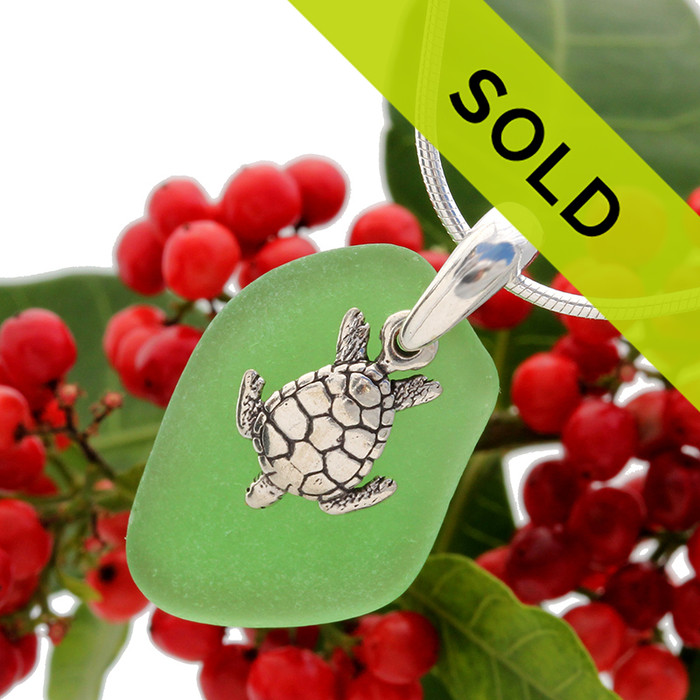 Beach found green sea glass is combined with a solid sterling sea turtlecharm and presented on an 18 Inch solid sterling snake chain.  SORRY THIS HAS SOLD