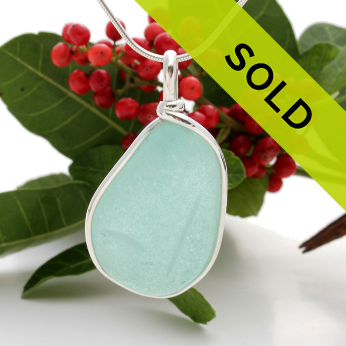 Vivid Seafoam Green Sea Glass In Sterling Deluxe Wire Bezel© Natural UNALTERED sea glass left just the way it was found on the beach!