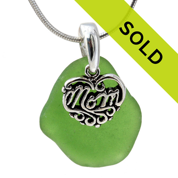 Green sea glass necklace with sterling silver MOM heart charm!