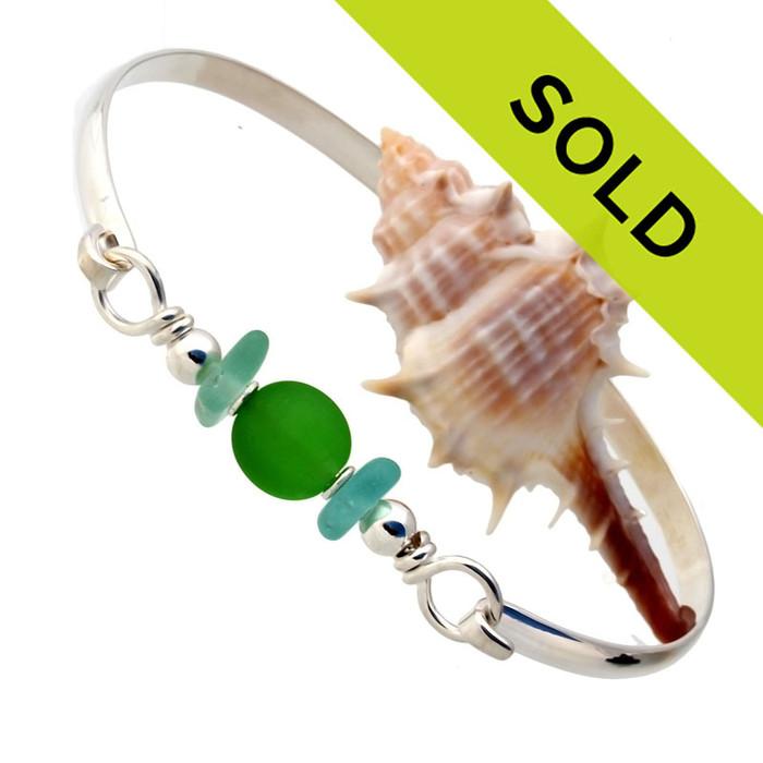 Aqua Sea Glass Sterling Bangle Bracelet With Vivid Green Glass Bead