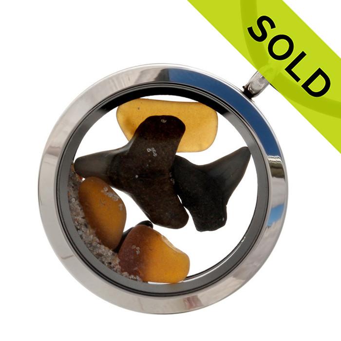 Shark Attack - Genuine Amber Sea Glass Locket With Real Sharks Teeth - Neoprene Cord