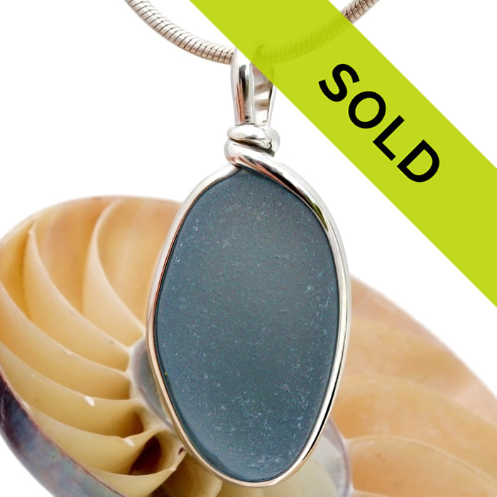 Sorry this gray blue sea glass pendant has sold!